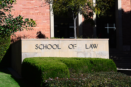 UCLA Law main entrance and sign