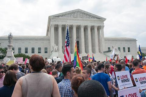 Crowd gathered outside the U.S. Supreme Court on June 26, 2015, after the court's decision in Obergefell v. Hodges.