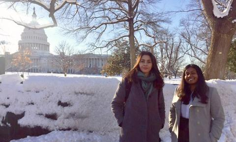 UCLA Law students Charoula Melliou LL.M. '19 (left) and Divya Rao '20 stand at the U.S. Capitol, where they delivered recommendations on reducing plastic pollution.