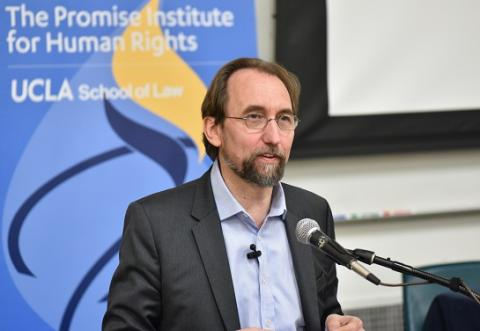 """Prince Zeid Ra'ad Al Hussein of Jordan delivers the keynote address at """"Critical Perspectives on Race and Human Rights: Transnational Re-Imaginings"""" on March 8."""