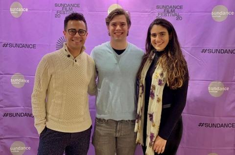 Documentary Film Legal Clinic students Graham Fenton '20, Keegan Hawkins '21 and Michelle Banayan '21
