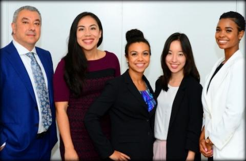 Executive director Leo Trujillo-Cox '97 with current and former law fellows Ana Garcia '20, assistant director Amanda Smith, Eunice Kang '20 and Amora Haynes.