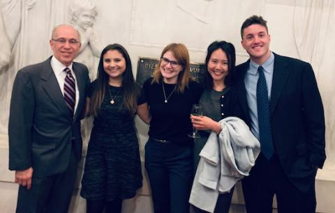 L to R: Vis moot court team coach Peter Rosen, Olivia Florio-Roberts '19, Charlotte Leszinske '20, Hannah Jung '20 and Andrew Barondess '20 competed in Vienna, Austria, in 2019.
